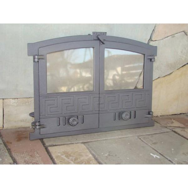 """Чугунные двери со стеклом """"GRECJA"""" Halmat"""