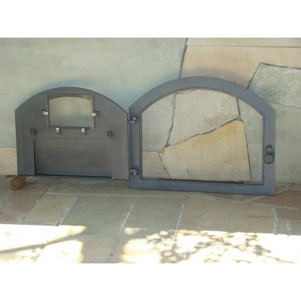"""Чугунные дверцы для печи со стеклом """"PIZZA"""" Halmat"""