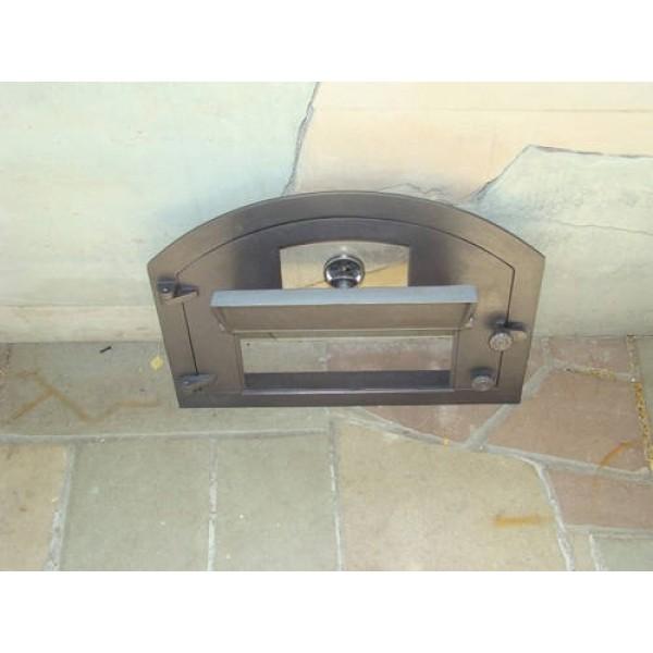 """Чугунные дверцы для печи со стеклом и термометром """"PIZZA"""" Halmat"""