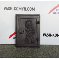 """Чугунная дверца с вкладкой """"Трубочист"""" DKR4 Halmat"""