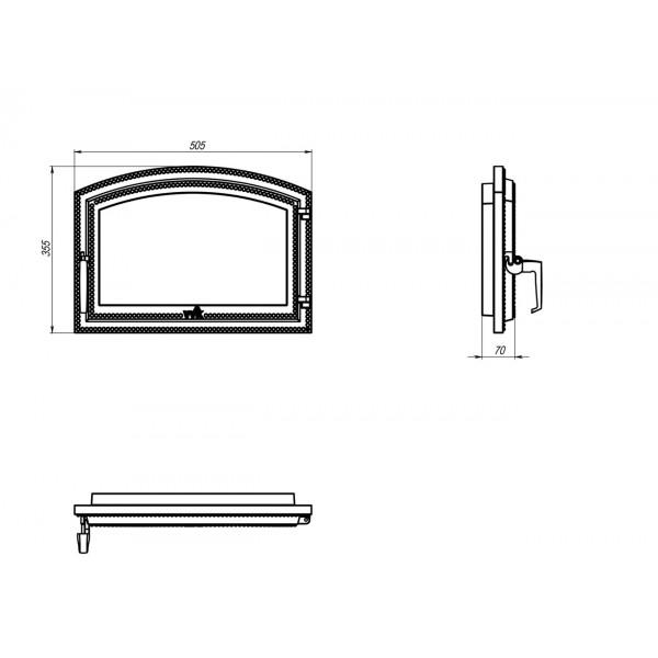 Чугунные арочные дверки для камина (50,5 х 35,5 см)