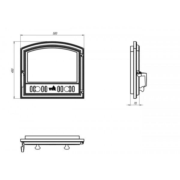 Арочная дверца для каминов (50 х 45 см)
