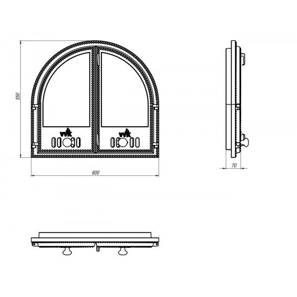 Дверцы для печей стеклянные (60 х 55 см)