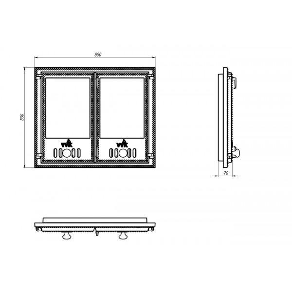 Двухстворчатая дверца со стеклом (60 х 50 см)