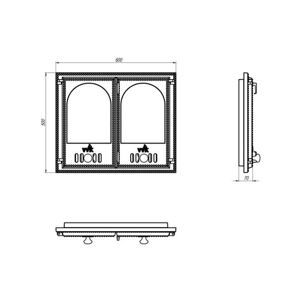 Двухстворчатая дверца для камина с арочными стеклами (60 х 50 см)