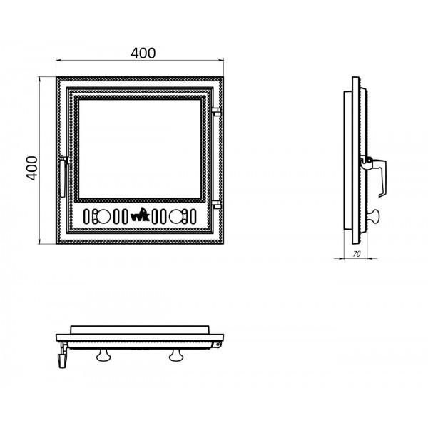 Стеклянные дверцы для камина (40 х 40 см)