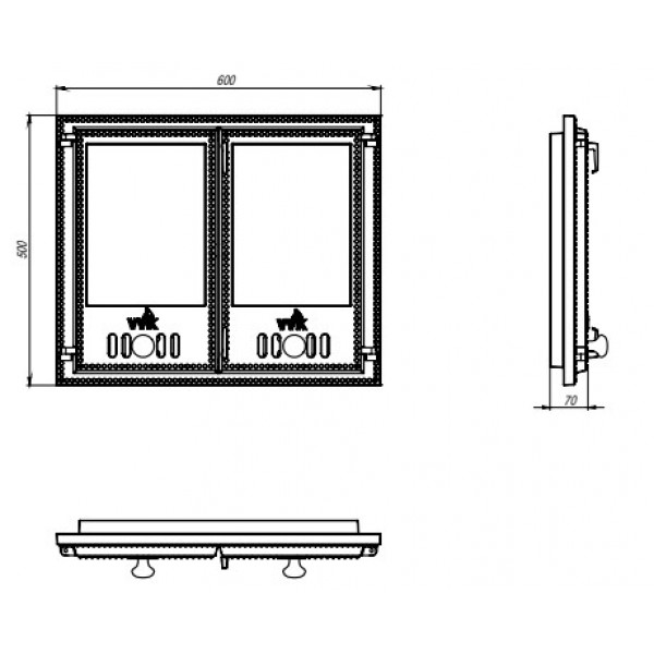 Чугунная дверца со стеклом (38 х 41 см)