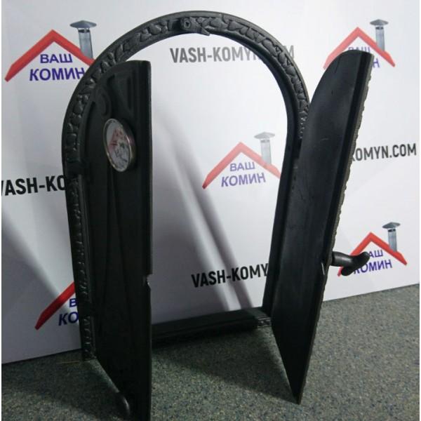 Арочные глухие дверцы печные з термометром DW13T Halmat