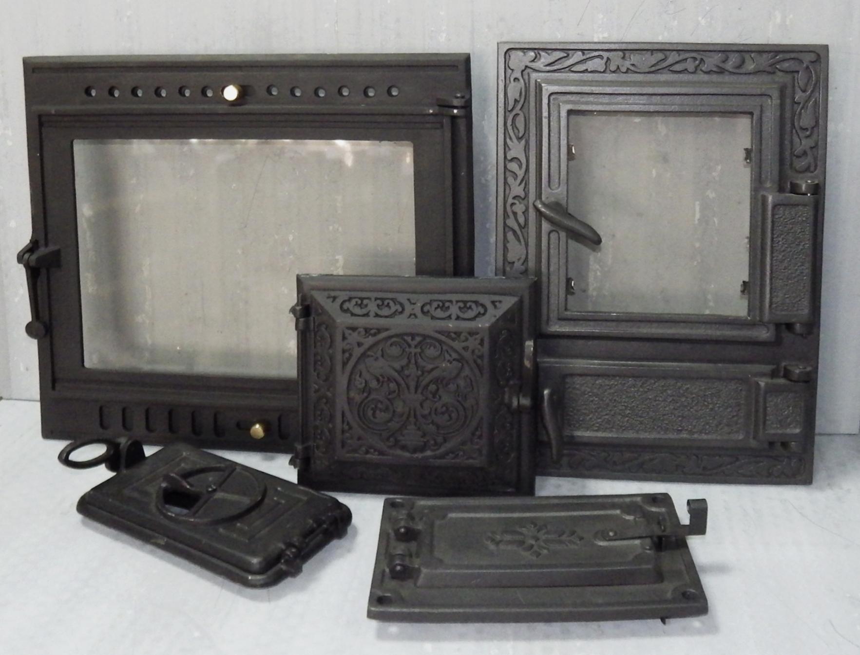 Дверца с огнеупорным стеклом для печи стальная